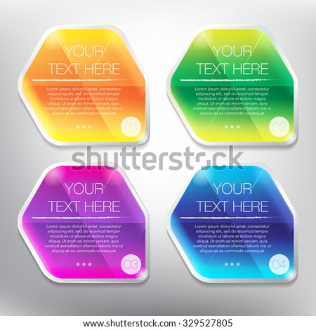 Abstract vector banners set. Colorful, glossy and transparent on the white panel. 4 parts concept. Vector illustration. Eps10.