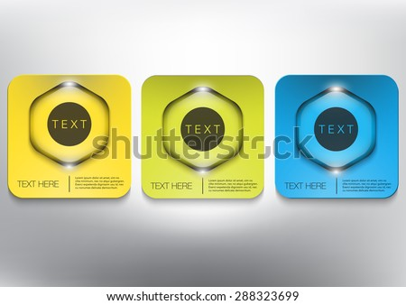Abstract vector banners set. Three coloured cardboard with hexagonal glossy button on white panel. Vector illustration.  Eps10 - stock vector