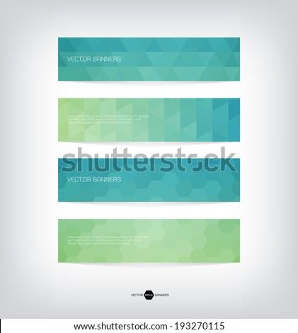 Abstract vector banners with trendy multicolored triangular pattern. Modern polygonal background. Colorful mosaic. - stock vector