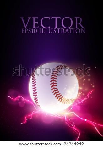 abstract vector baseball ball illustration - stock vector