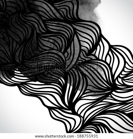Abstract vector black and white design with waves. Urban theme design element. Ink splatter. Hand drawn waves on watercolor background. Watercolor texture. Japanese motifs. Black and white background