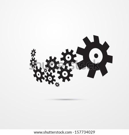 abstract vector black cogs, gears  - stock vector
