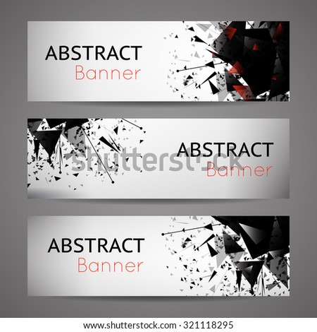 Abstract vector black explosion banners. Set of card, graphic space energy illustration