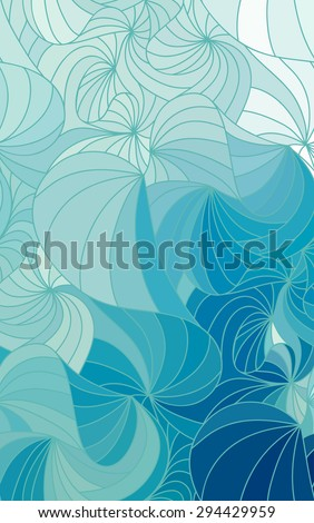 Abstract vector blue background of doodle drawn lines