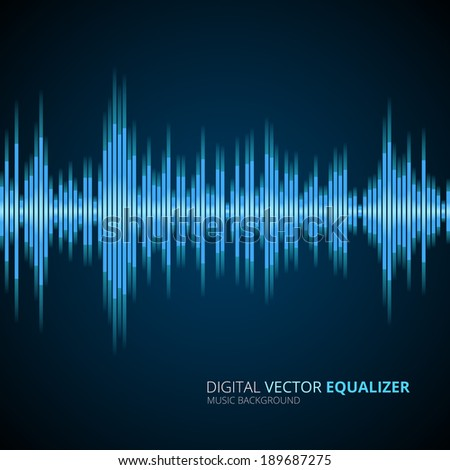 Abstract vector blue  equalizer background - stock vector