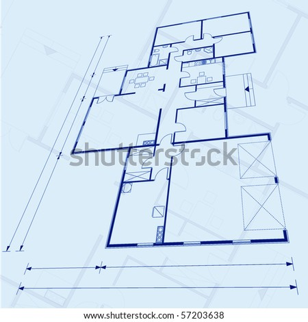 abstract vector blueprint background - stock vector