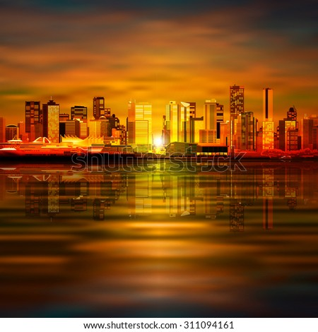 abstract vector brown sunset background with panorama of city - stock vector