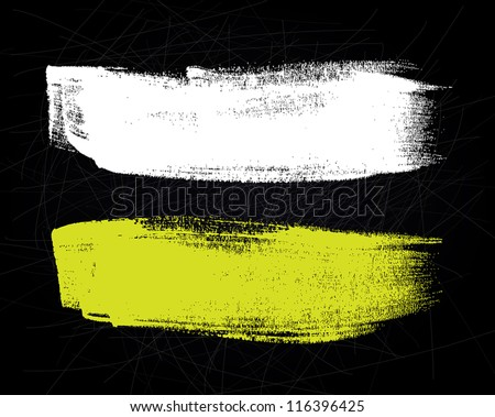 Abstract vector brush stroke on black scratched background - stock vector