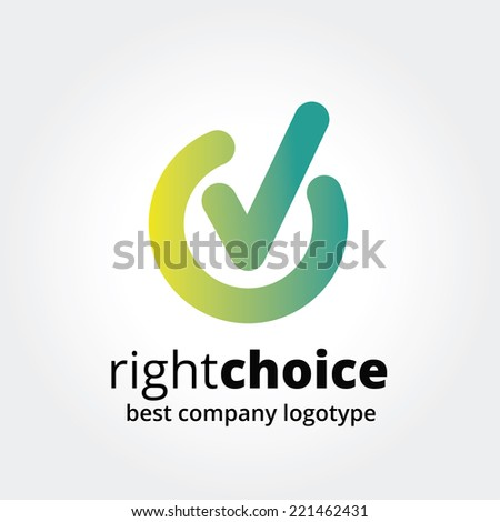 Abstract vector check in logotype concept isolated on white background. Key ideas is business, abstract, check in, voiting, choice, marker, design. Concept for corporate identity and branding - stock vector