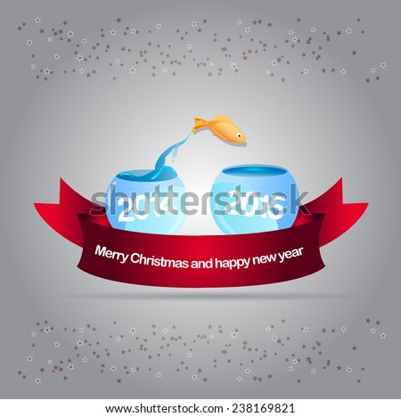 Abstract vector christmas background with gold fish leaping into aquarium 2015 - stock vector