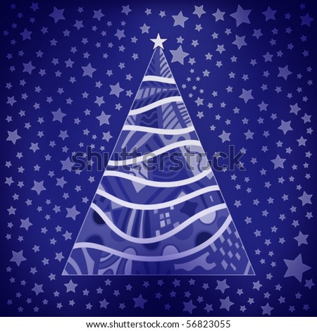 Abstract vector Christmas background with tree and stars