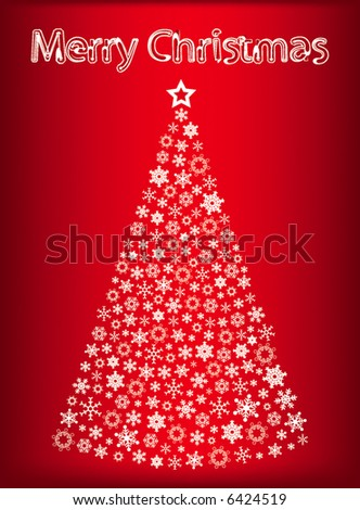 abstract vector christmas tree with snowflakes and merry christmas