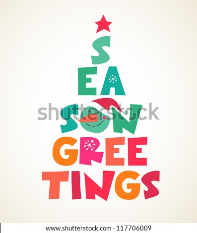 abstract vector Christmas tree with text - stock vector