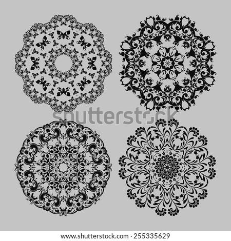 Abstract vector circle floral ornamental border set. Vector ornamental border frame. Can be used for banner, web design, wedding cards and others - stock vector