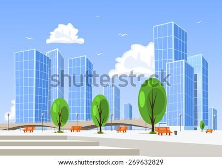 Abstract vector city. - stock vector