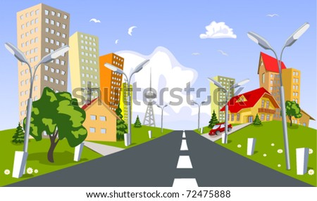 Abstract vector city - stock vector