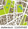 Abstract vector city map with white streets, dark brown buildings, green park and blue ponds. Simply draft town plan illustration - stock vector