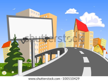 Abstract vector city with billboard - stock vector