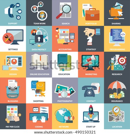 Abstract vector collection of colorful flat business and finance icons. Design elements for mobile and web applications