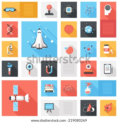 Abstract vector collection of colorful flat science and technology icons with long shadow. Design elements for mobile and web applications. - stock vector