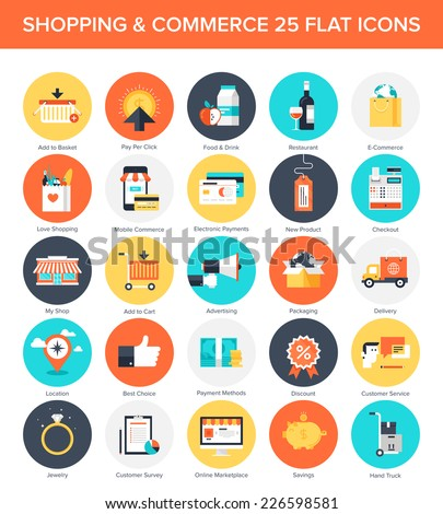 Abstract vector collection of colorful flat shopping icons. Design elements for mobile and web applications. - stock vector