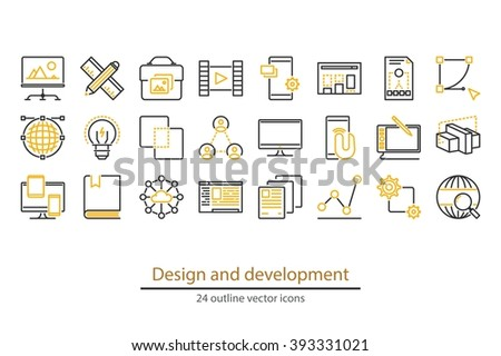 Abstract vector collection of  design and development icons. - stock vector