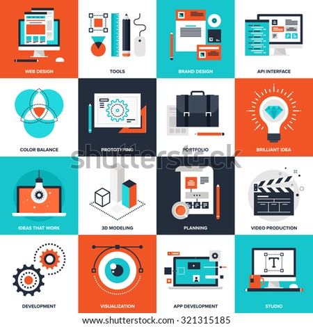 Abstract vector collection of flat design and development icons. Elements for mobile and web applications. - stock vector