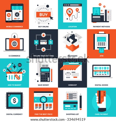 Abstract vector collection of flat digital commerce icons. - stock vector