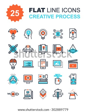 Abstract vector collection of flat line creative process icons. Elements for mobile and web applications. - stock vector