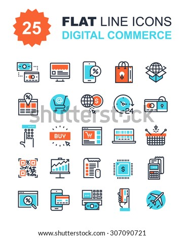 Abstract vector collection of flat line digital commerce icons. Elements for mobile and web applications. - stock vector
