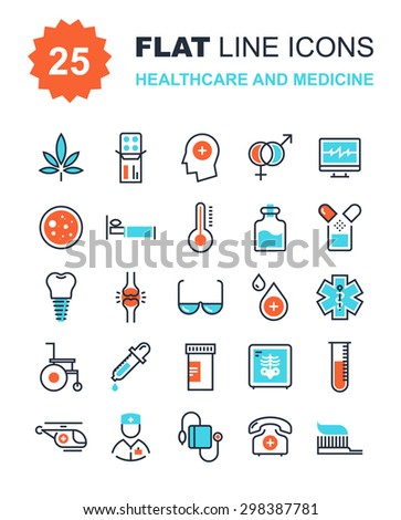 Abstract vector collection of flat line healthcare and medicine icons. Elements for mobile and web applications. - stock vector