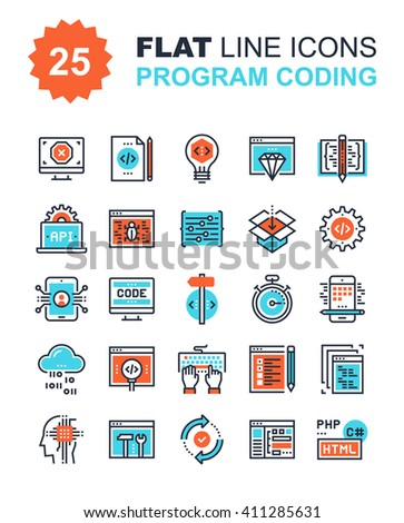 Abstract vector collection of flat line program coding icons. Elements for mobile and web applications. - stock vector