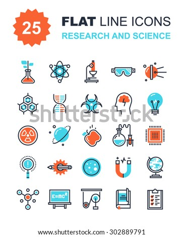 Abstract vector collection of flat line research and science icons. Elements for mobile and web applications. - stock vector