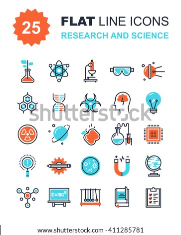 Abstract vector collection of flat line research and science icons. Elements for mobile and web applications.