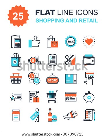 Abstract vector collection of flat line shopping and retail icons. Elements for mobile and web applications. - stock vector