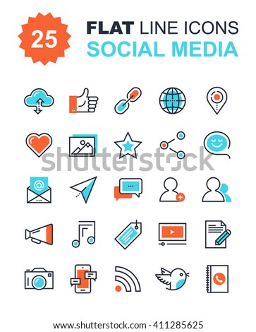 Abstract vector collection of flat line social media icons. Design elements for mobile and web applications. - stock vector