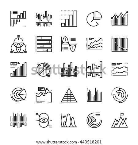 Abstract vector collection of line charts and diagrams icons. Elements for mobile and web applications.