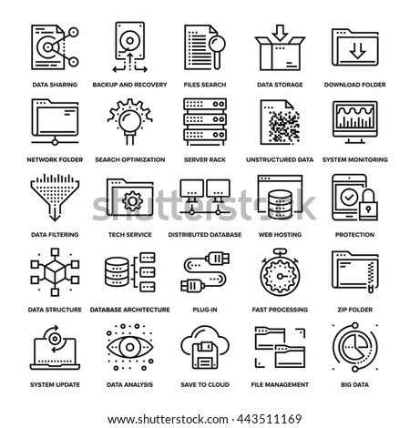 Abstract vector collection of line data management icons. Elements for mobile and web applications. - stock vector