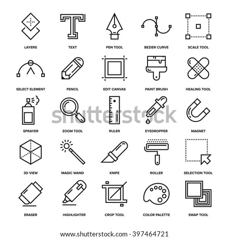 Abstract vector collection of line design tools icons. Elements for mobile and web applications.