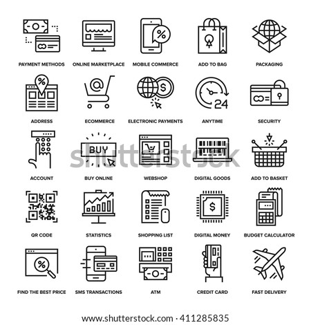 Abstract vector collection of line digital commerce icons. - stock vector