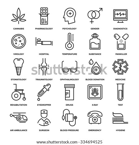 Abstract vector collection of line healthcare and medicine icons. Elements for mobile and web applications. - stock vector