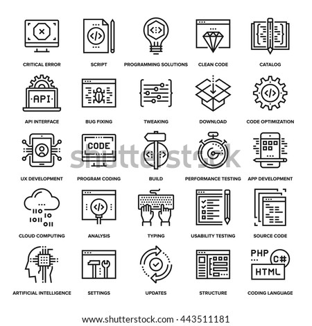 Abstract vector collection of line program coding icons. Elements for mobile and web applications.