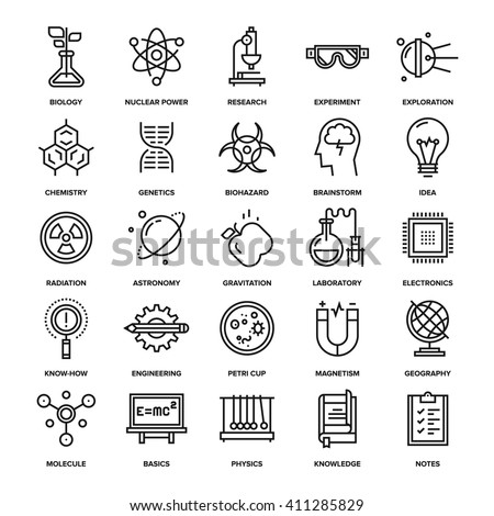 Abstract vector collection of line research and science icons. Elements for mobile and web applications. - stock vector