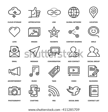 Abstract vector collection of line social media icons. Design elements for mobile and web applications. - stock vector