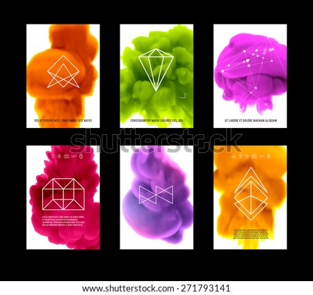 Abstract Vector Color Cloud Backgrounds Set. Paint Fluid. Colorful Smoke. Isolated Ink in Water. Liquid Ink or Paint for Banners, Cards, Posters, Annual Reports and Placards Designs. Vector Template. - stock vector