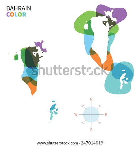 Abstract vector color map of Bahrain with transparent paint effect. For colorful presentation isolated on white. - stock vector