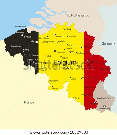 Abstract vector color map of Belgium country coloured by national flag - stock vector
