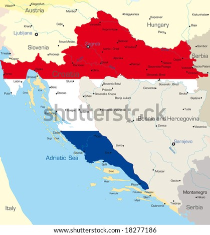 Abstract vector color map of Croatia country coloured by national flag