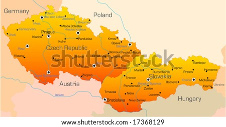 Abstract vector color map of Czech Republic and Slovakia country - stock vector