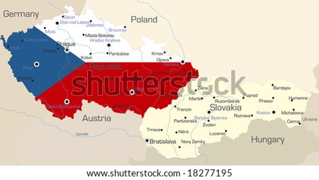 Abstract vector color map of Czech Republic  country coloured by national flag - stock vector